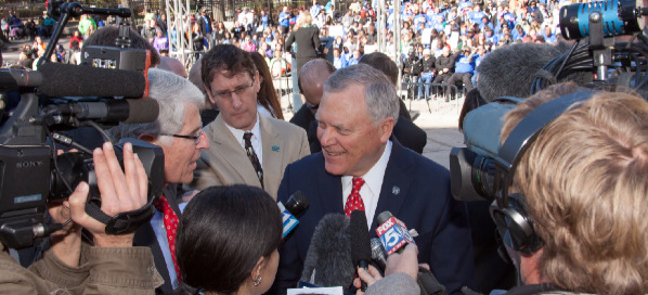 Governor Nathan Deal talking to the press at the 2013 Annual Disability Day