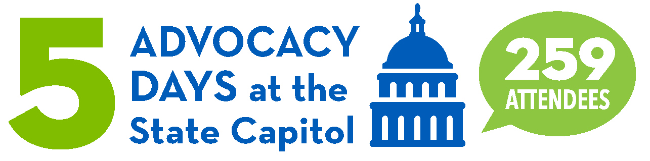 Graphic of 5 Advocacy Days at the State Capitol - 259 Attendees