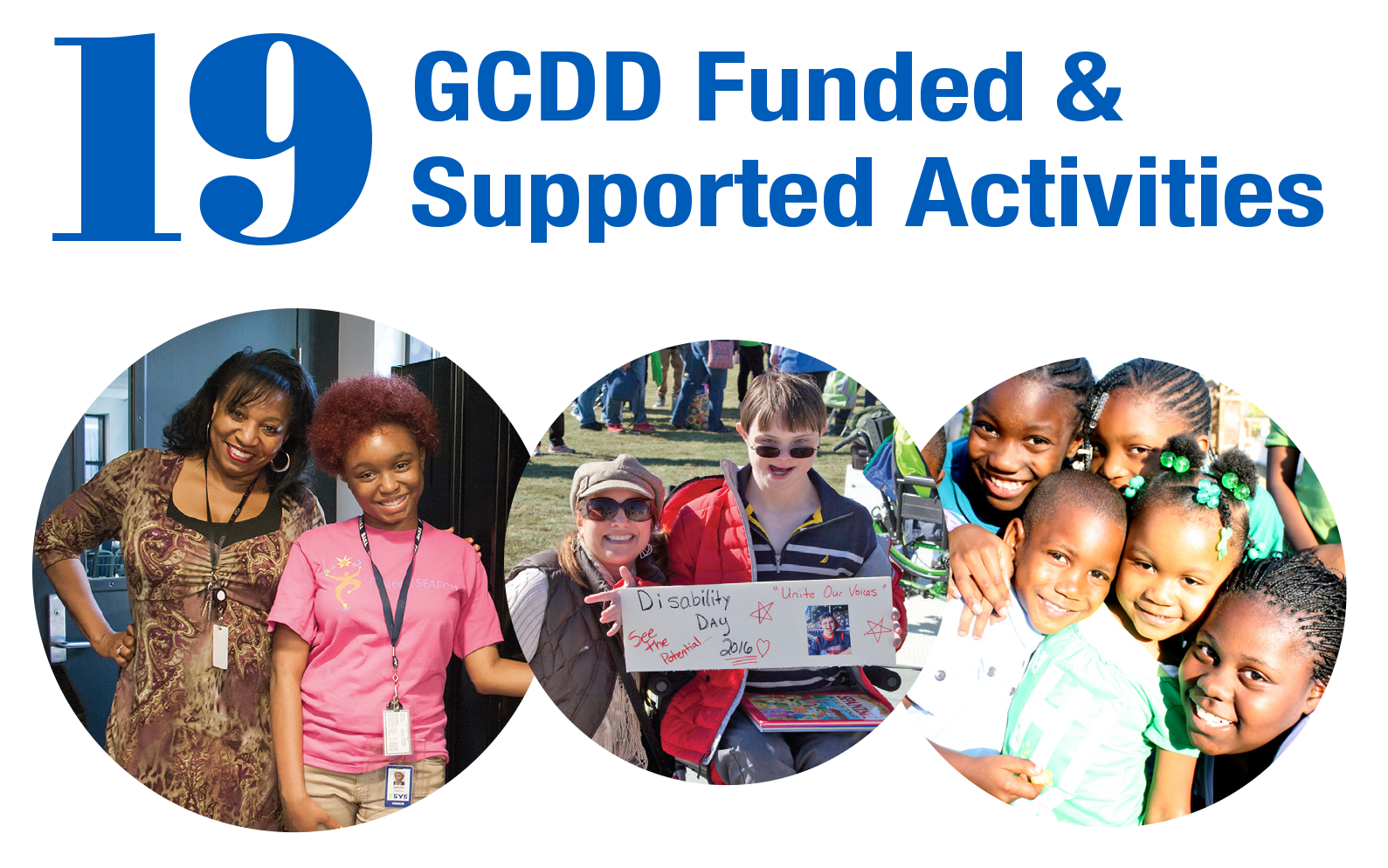 19 GCDD Funded and Supported Activities FY2016, photos from Project SEARCH, Disability Day and Real Communities