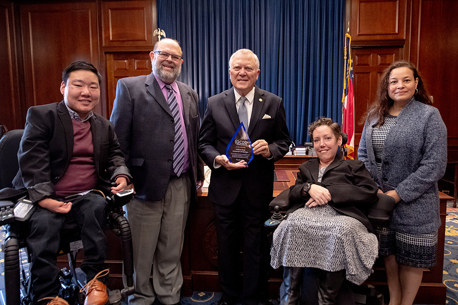 GCDD Council presents thank you plaque to Georgia Governor Nathan Deal Jan 2019 (l to r) Member Parker Glick, Executive Director Eric Jacobson, Gov. Deal, Deputy Director Kate Brady, Member Brenda Munoz